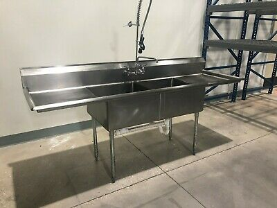 2 Compartment - NSF - 304 Stainless Steel Commercial Sink - 18 gauge