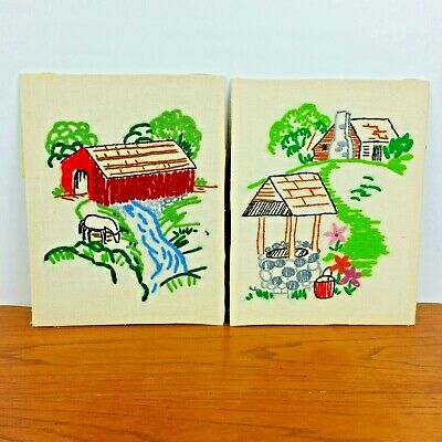 Vintage Crewel Embroidery Covered Bridge Stream Well Completed Finished Set of 2