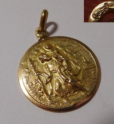 """Medaille religieuse ancienne """" Saint Christophe """" - or 18 carats"""