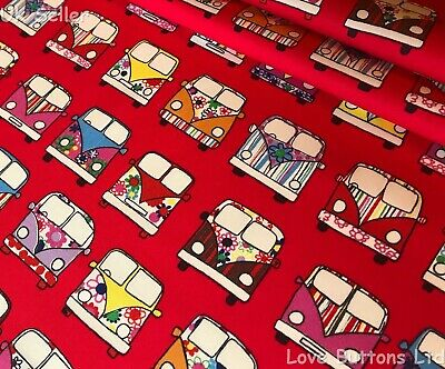 Rose And Hubble Red Vw Style Campervan Fabric 100% Cotton Fat Quarters