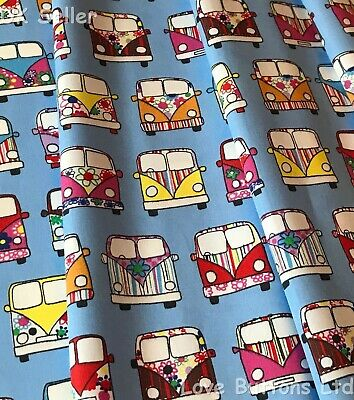 Rose & Hubble 100% cotton blue VW campervan style fabric half/full mtrs & FQ