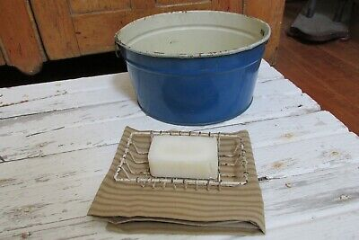 Antique Vintage Child's Tin Wash Tub With Accessories, Country, Primitive, Farm