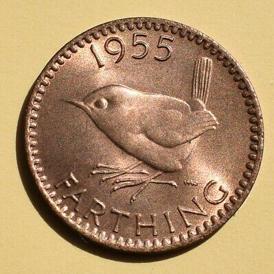 1955 Farthing (1/4d) Coin - Brilliant Uncirculated