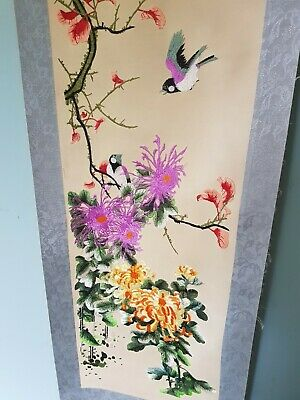 Large Chinese Silk Embroidery On Silk Scroll Signed