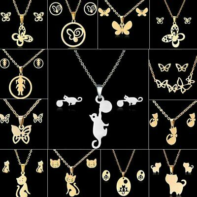Women Charm Butterfly Stainless Steel Pendant Necklace Earrings Jewelry Set Gift