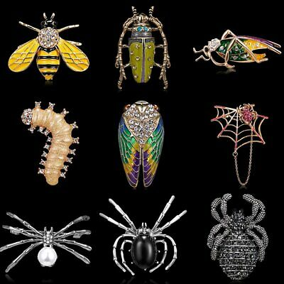 Cute Crystal Bee Spider Animal Insect Brooch Pin Fashion Jewelry Men Women Gift