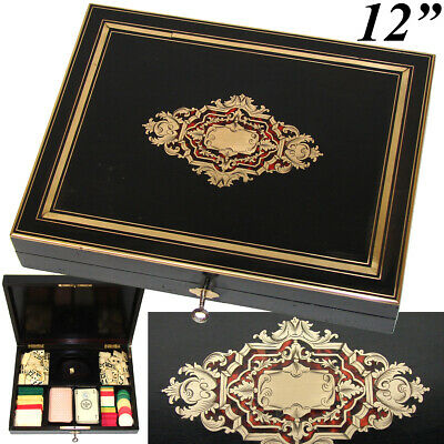 Antique French Boulle Gaming or Card Playing Box, c.1850, Gaming Tokens, Chips