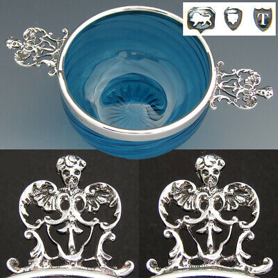 Antique English Sterling Silver & Blue Glass Caviar? Dish, Bowl, Mascarons
