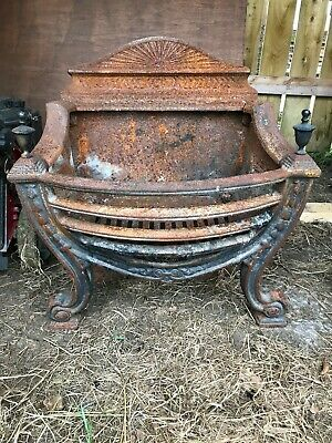 Antique Ornamental Victorian Cast Iron Fire  / Grate with Backplate very heavy