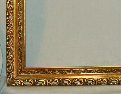 Ornate Vintage Reticulated Gold Gilt Wood Picture Art Mirror Frame 15x18
