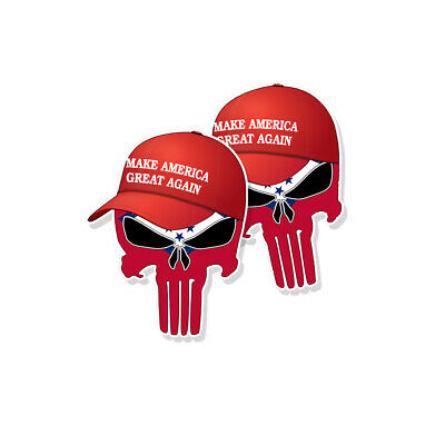"TRUMP PUNISHER STICKERS Arkansas State Flag MAGA Hat Decals - 3"" tall 2-pack"