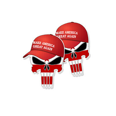 "TRUMP PUNISHER STICKERS Washington DC Flag MAGA Hat Decals - 3"" tall 2-pack"
