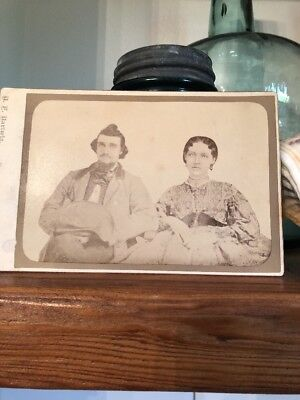 Antique Nice Civil War Cabinet Photo Ambrotype Topknot Hair Paisley Dress