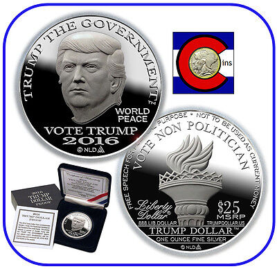 2016 Trump Proof Silver Dollar 1 oz 0.999 Round -- $25 Norfed Coin w COA