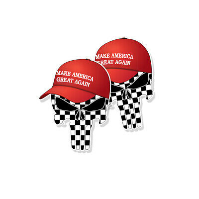 "TRUMP PUNISHER STICKERS Checkered Flag MAGA Hat Decals - 3"" tall 2-pack"