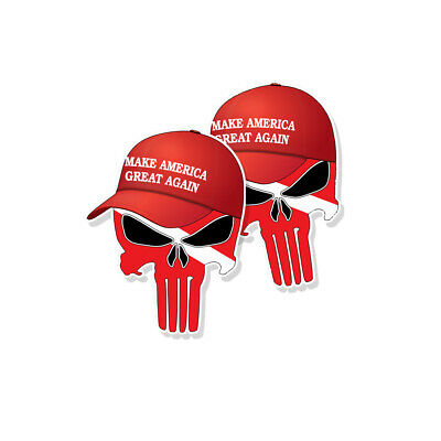 "TRUMP PUNISHER STICKERS Dive Flag MAGA Hat Decals - 3"" tall 2-pack"