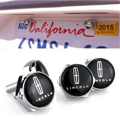 4x Lincoln Metal Car License Plate Frame Screw Bolt Cap Cover Screw Bolts Nuts