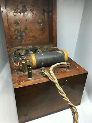 antique Battery Magneto-Electric Machine Quack Medical Shock Therapy RARE wood b
