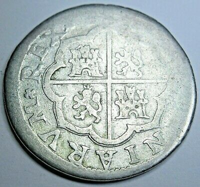 1700's Spanish Valencia Silver 2 Reales Piece of 8 Real Colonial Two Bits Coin