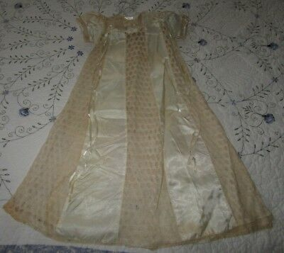 Antique Satin And Lace Baby Dress Or Christening Gown