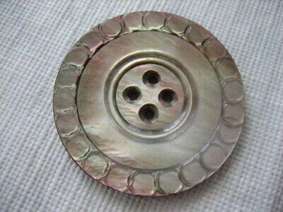 """Vintage Large 1-9/16"""" Carved Smokey MOP Mother Of Pearl Shell Button - PS11"""