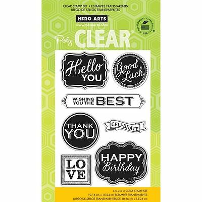 HERO ARTS ~ CHALKBOARD STYLE MESSAGES ~ Clear Stamp Set Thank You Good Luck