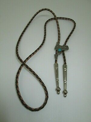Vintage BELL Trading Post NICKEL SILVER Brown Braided SADDLE Medallion BOLO TIE
