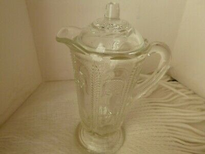 1930s Owl Glass Mint  / Vinegar Bottle Jug with Lid