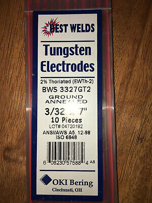 """3/32"""" x 7 Tungsten Electrode Red, 2% Thoriated, 10 Pack"""