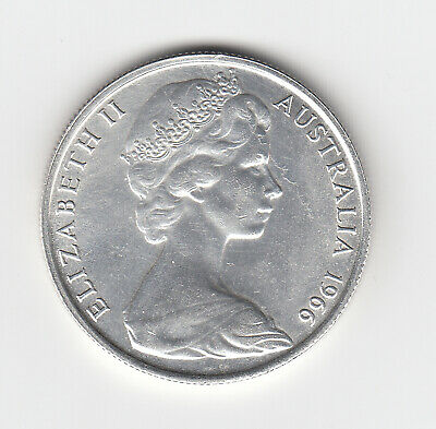 1966 Australia Round 50 Fifty Cent Coin (80% Silver) - Great Vintage Coin