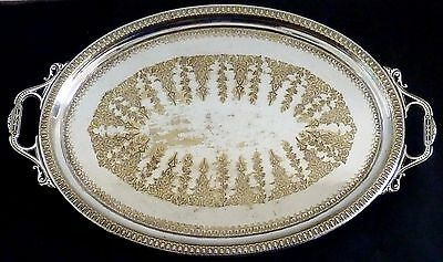HUGE ANTIQUE SILVERPLATE Silver plate VICTORIAN SERVING TRAY diamond regENGRAVED