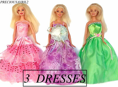Brand new Barbie doll clothes outfit wedding set of 3 evening dresses