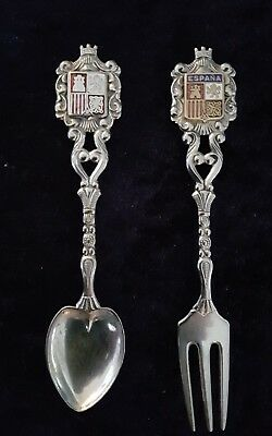 Spanish enamelled teaspoon & fork set coat of arms espana genuine solid silver