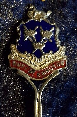 Bury St Edmunds enamelled genuine silver spoon teaspoon souvenir