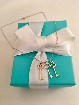 """5079a6889 Tiffany & Co Silver Rose & Yellow Gold Three Key Pendant Necklace 16"""" Rare"""