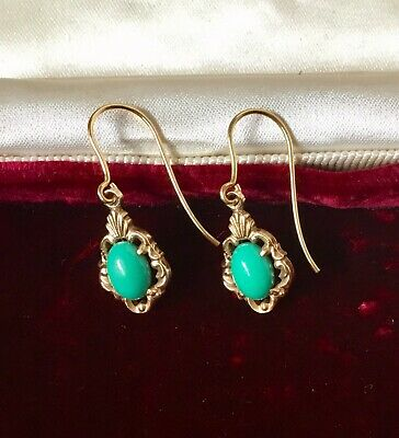 ANTIQUE / EARLY VINTAGE VICTORIAN DESIGN 9ct 9K GOLD PERSIAN TURQUOISE EARRINGS