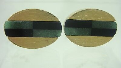 Vintage Oval Inlaid Onyx & Jade Dante Gold Tone Cuff Links (Cc-17)