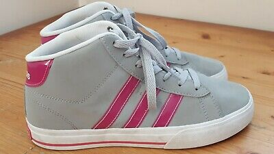 online for sale coupon code hot sale ADIDAS NEO WOMEN Grey Pink white Mid Top Suede Leather ...