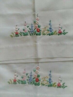 2 x Vintage Embroidered + stuffed applique pillow Cases