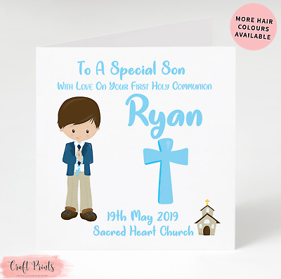 Handmade Personalised Boys First Holy Communion Card Son Grandson Godson Brother