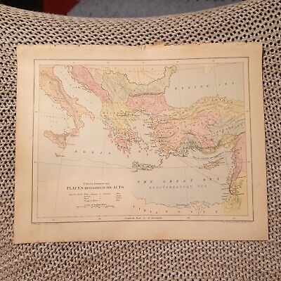 Map - Palestine at the time of Christ OR St Paul's Journeys - 1882 Book Page