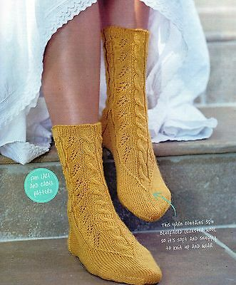 ~ Pull-Out Knitting Pattern For Lady's Lovely Lace & Cable Socks ~
