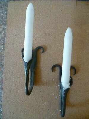 Two Hand Crafted 'Arts & Crafts' Calla Lilly Shaped Candlesticks  / Bud Holders