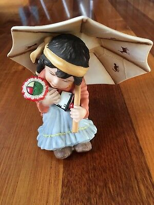 Gregory Perillo 1990 Southwestern Collectible Numbed Girl Figure Ornament Sogned