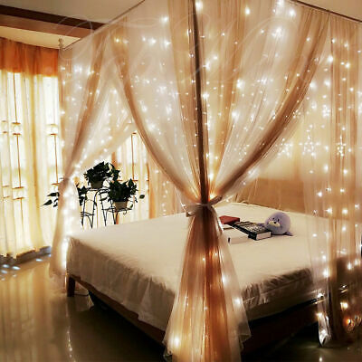 New Indoor / Outdoor 300 Curtain  Lights Warm White Different Functions