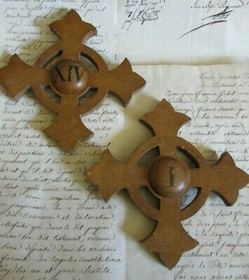 Antique French Pair Wooden Church Altar Crosses Crucifixes Numbers I & XIV