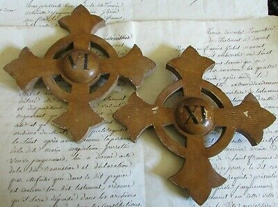 Antique French Pair Wooden Church Altar Crosses Crucifixes Numbers VI & XI