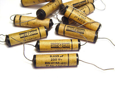NOS 125 V From the 1940s 10 pcs of Vintage Sikatrop Paper Capacitors 0.05 µF