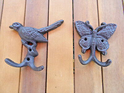 Cast Iron Decorative Butterfly & Bird With Hooks For Fence Wall / Shed Tools Etc