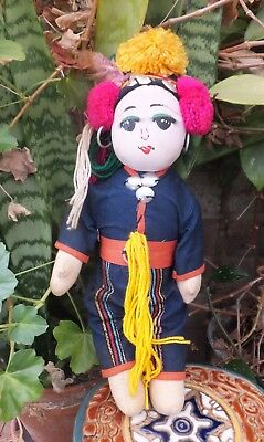 Antique Buddhist Indonesian Colorful Girl Doll  Cloth Doll Handmade